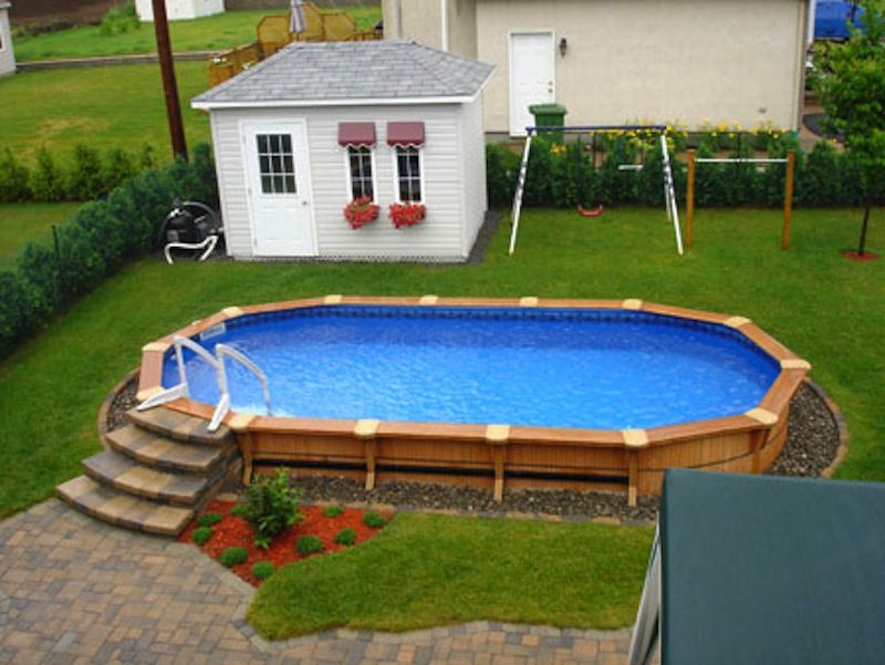 Free swimming pool deck design pictures with how to build for Above ground swimming pools uk