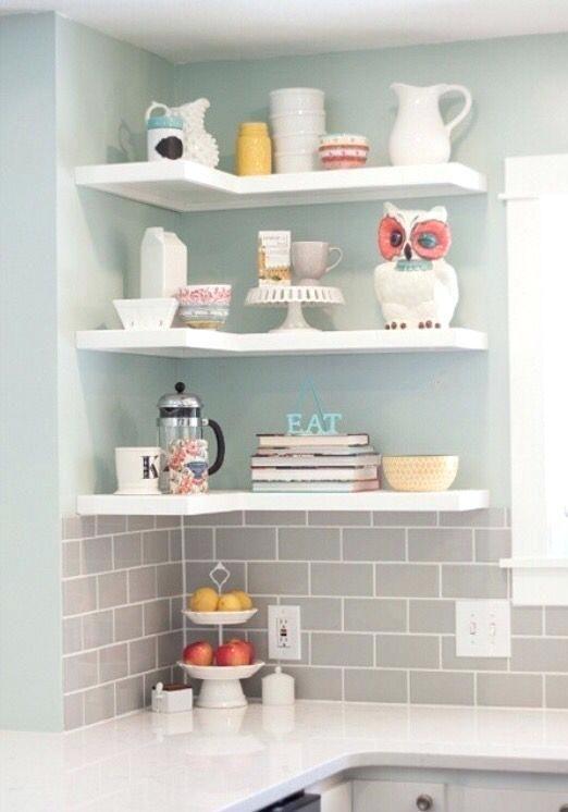 Shaped Corner Shelves Floating White Large Size Best Kitchen