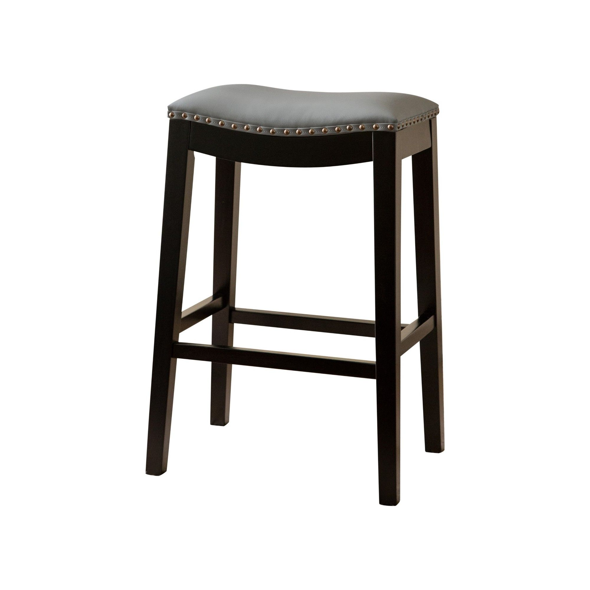Dakota Bonded Leather Saddle Bar Stool Gray Abbyson Living Adult Unisex Short Bar Stools Bar Stools Saddle Bar Stools