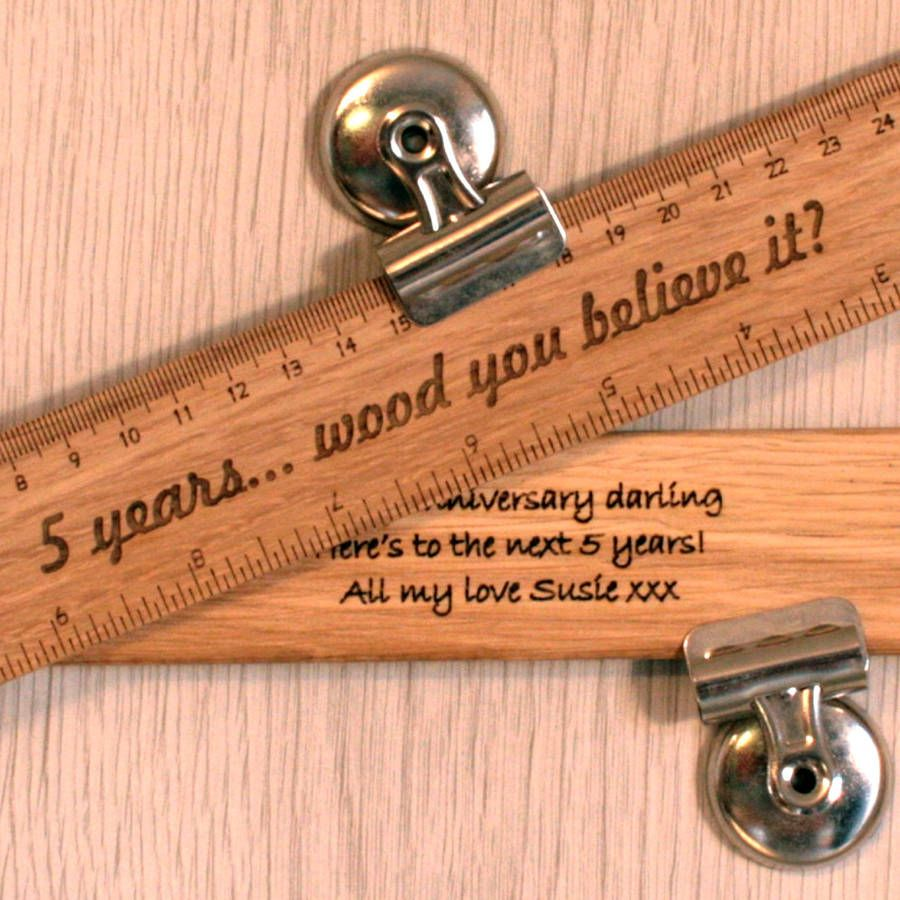 Personalised Wood 5th Anniversary Gift Ruler 5th wedding