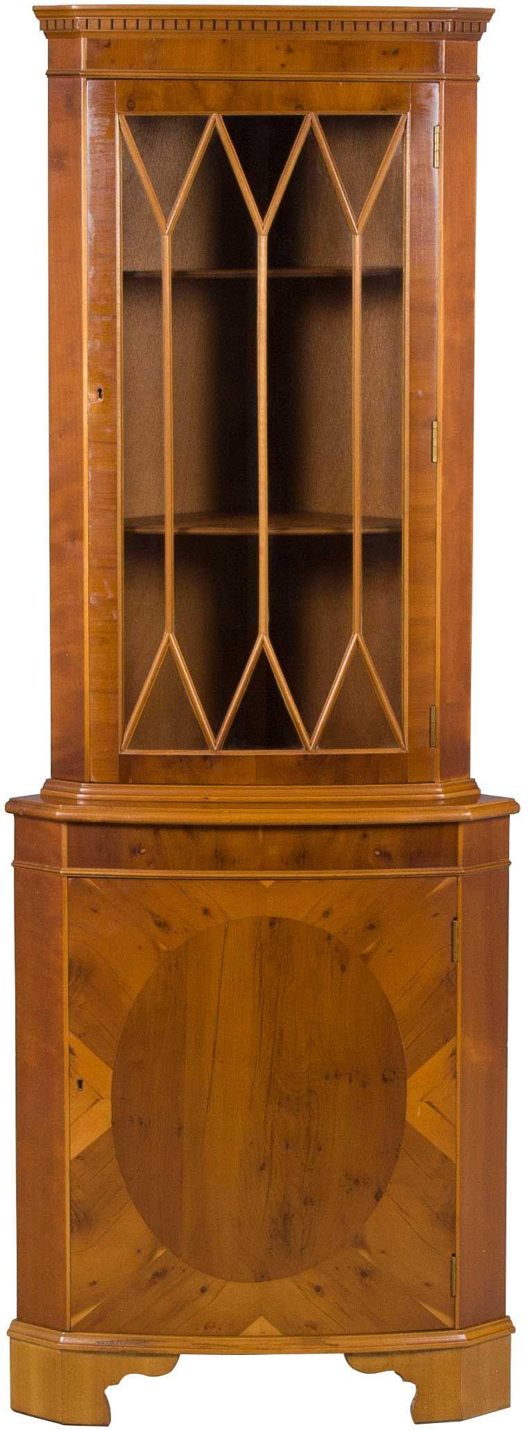 Ann mirror insert double door single drawer wooden corner cabinet - English Antique Style Yew Corner Cabinet