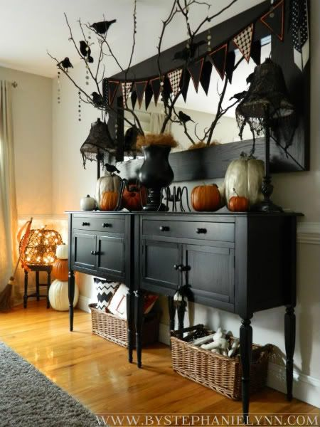 Halloween dining room buffet console decor my faux for Dining room buffet table decorating ideas