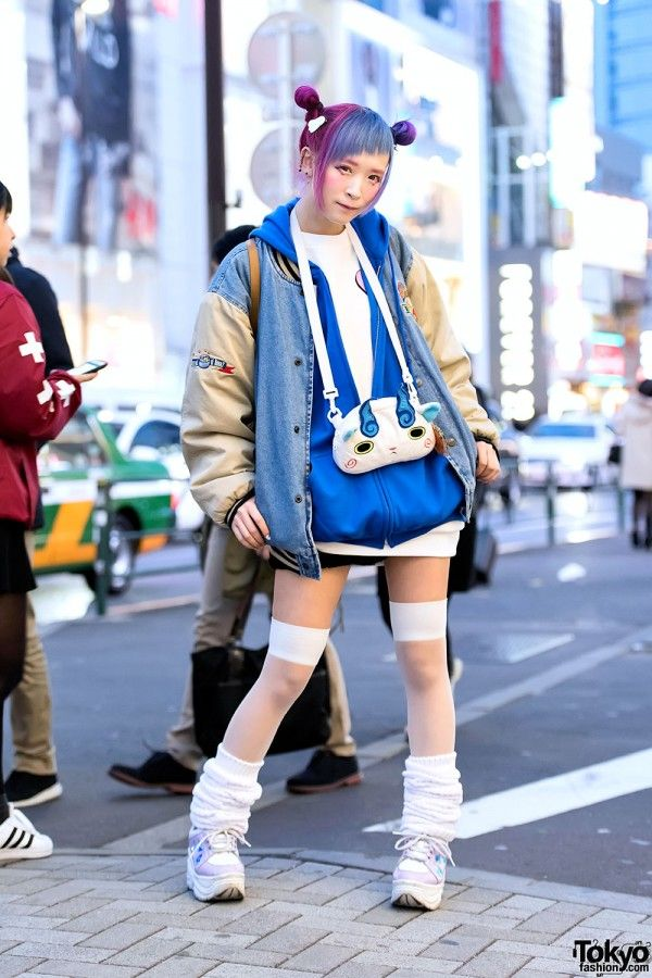 Harajuku Girl in Oversized Jacket & Platforms Moda  Moda