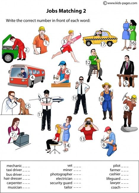 Jobs Matching 1 worksheets http://www.kids-pages.com/folders ...