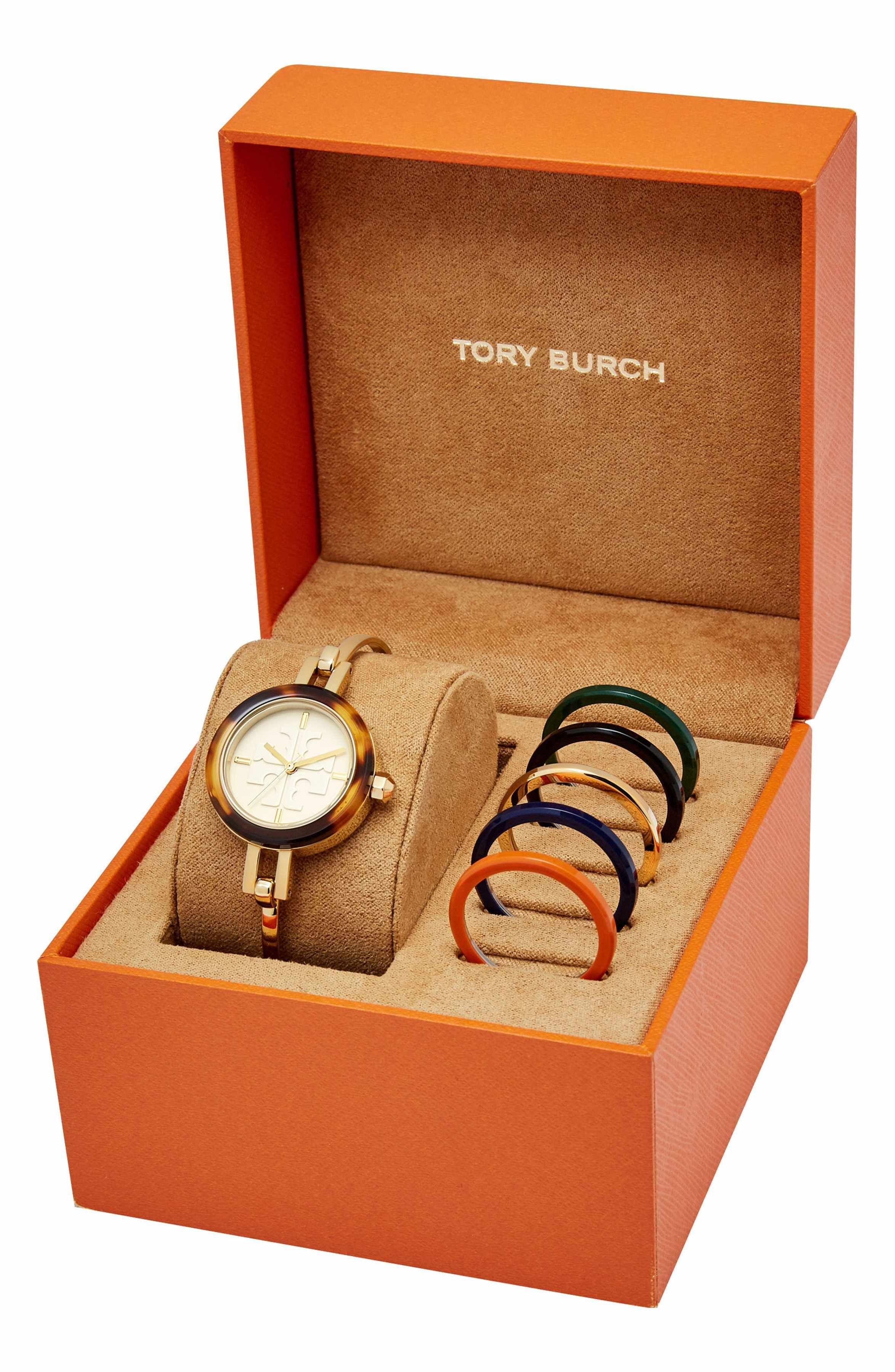 de2dd4852c4d Main Image - Tory Burch Gigi Bangle Bracelet Watch Set