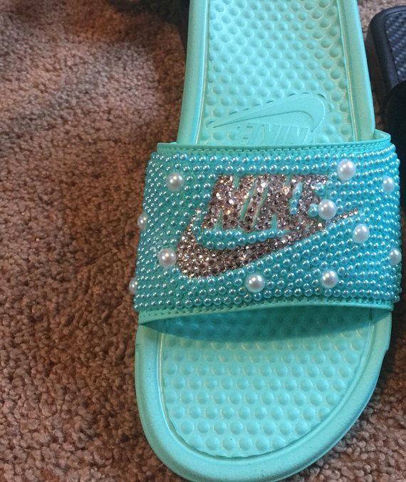 85d15780f73ce7 Bling Flip Flops · Nike Slides · Custom Shoes · Shoe Game · Hey