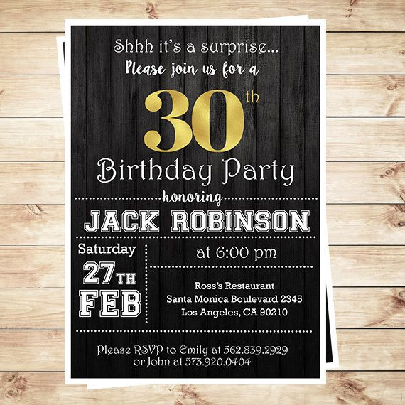 30th Birthday Surprise Party Gold Black Mens 30th Birthday – Surprise 30th Birthday Invites