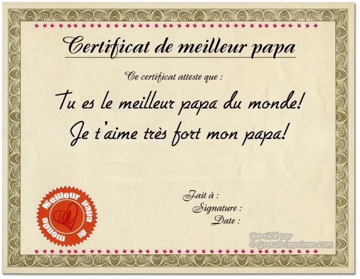 Idee cadeau fete des peres gratuit certificat de meilleur papa a imprimer brico mom - Diplome du super papa a imprimer gratuit ...