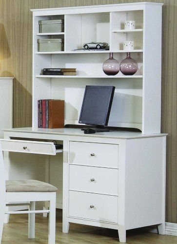 selena white computer desk with hutch by coaster furniture more rh pinterest com White Wood Computer Desk white wicker computer desk with hutch