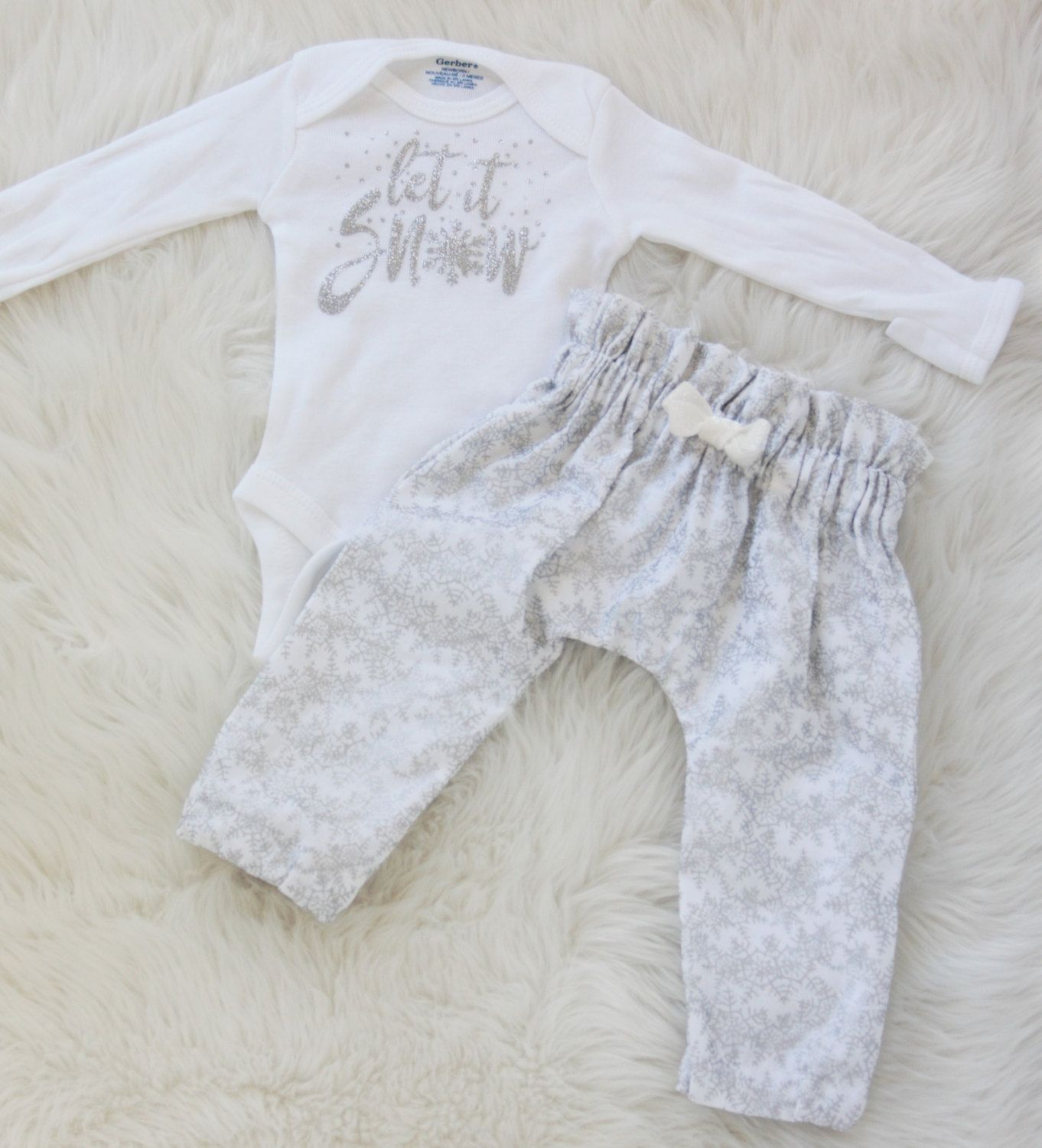 0bdbdf1ded9f Let it snow outfit Christmas outfit coming home outfit baby girl ...