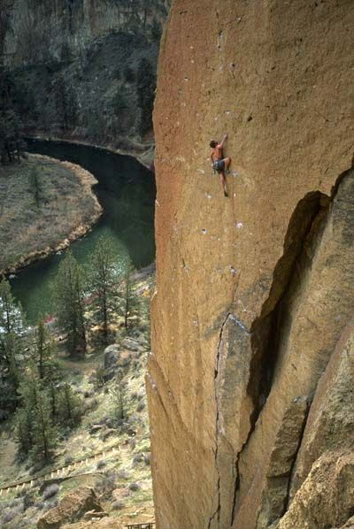 Clay Cahoon on Crossfire (5.12a/b R), The Dihedrals, Smith Rock, Oregon.