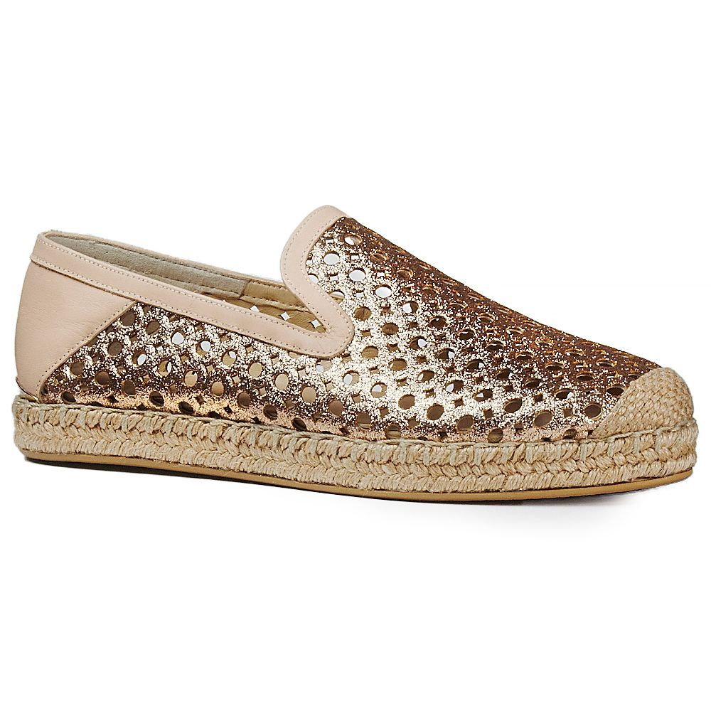 4f34727829f0 Stuart Weitzman County Womens Espadrille - Berenshoes.com A sporty  jute-trimmed espadrille slip-on in rose-glitter leather that's been laser- cut in a ...