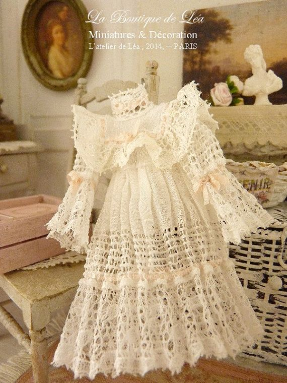 Romantic white dress, Antic French fabric and lace, Accessory, collectible ornament for a dollhouse in 1:12th scale