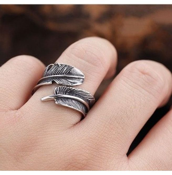 Vintage Feather Openings Ring Punk Feather Ring Tail Ring