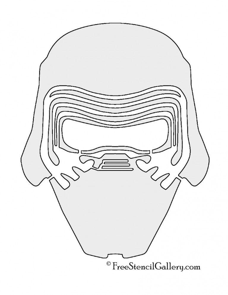 Kylo Ren Mask Stencil Star wars stencil, Star wars