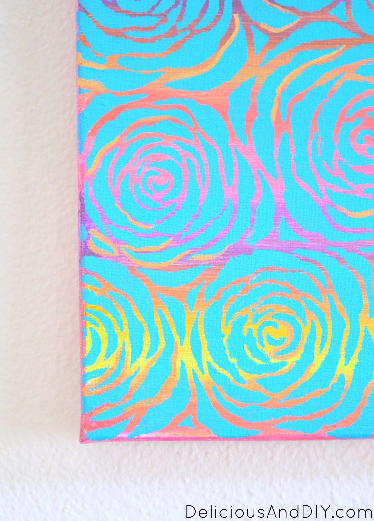 Roses Allover Canvas Art. Stencil Wall Art. Gallery Wall