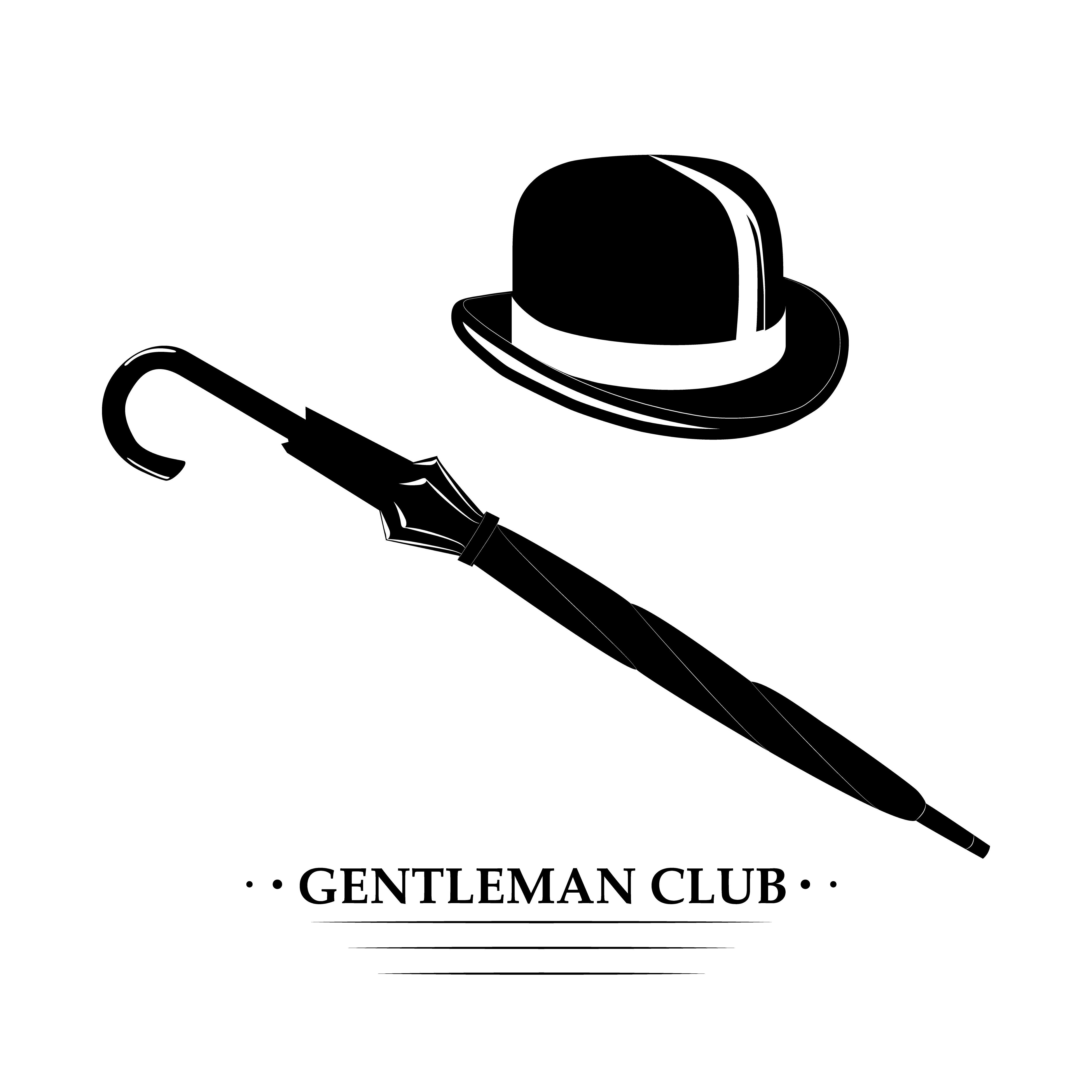 Vintage Gentlemen Elegance Logo Gentleman Gentlemen Hat Bowler Derby Top Hat Cylinder Headdress Headge Gentleman Vintage Gentleman Styled Stock Photos