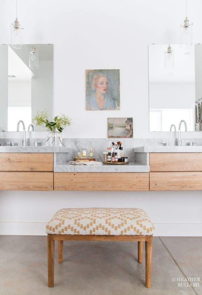 Modern bathroom with concrete floors light wood floating vanity modern bathroom with concrete floors light wood floating vanity marble counters and quirky art aloadofball Image collections