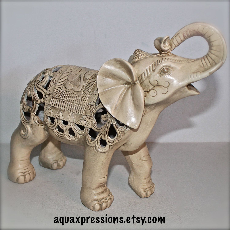Bon Elephant Statue /Ivory /Figurine /Home Decor /Ornate /Nursery Decor/ Shabby  Chic /Elephant Table Decor/ Elephant Statue/ African
