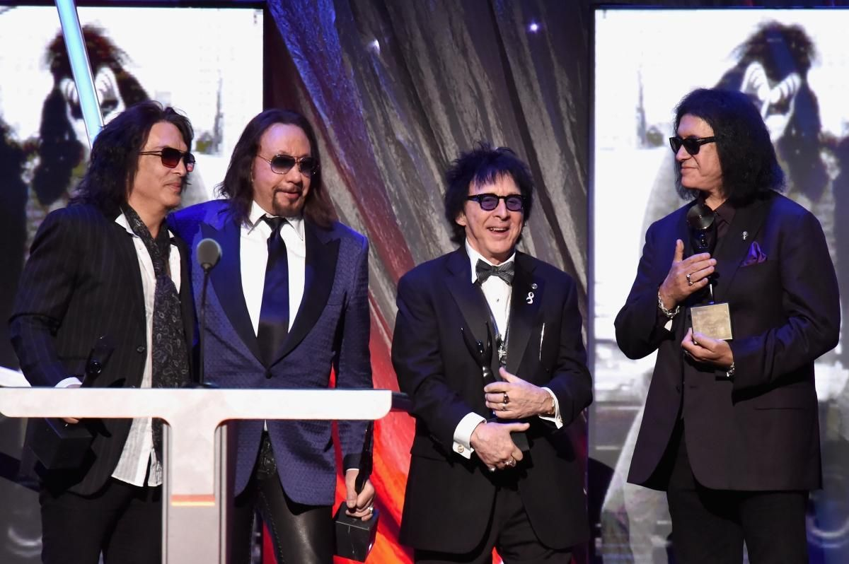 NEW YORK, NY - APRIL 10:  (L-R) Inductees Paul Stanley, Ace Frehley, Peter Criss and Gene Simmons  of KISS speak onstage at the 29th Annual ...