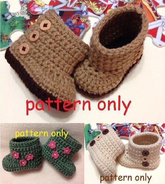 Crochet Pattern Set, Newborn to 6 months, Crochet Baby Boots ...