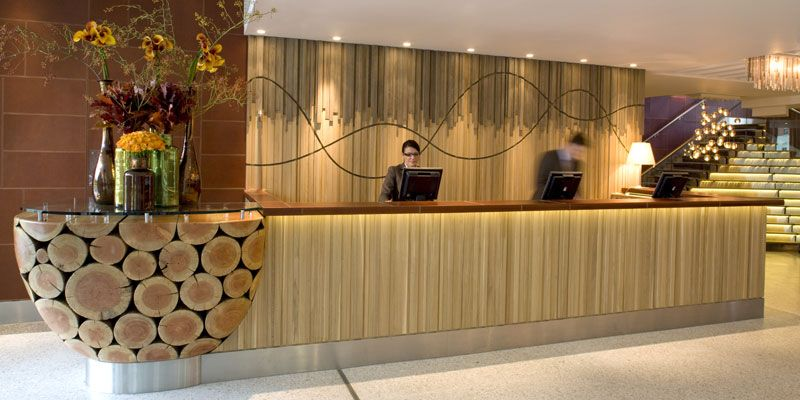 meadow runes the original use of wood in the raw as executed for this reception reception counter designhotel - Hotel Reception Desk Design