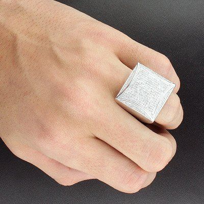 Trendy Hip Hop Rings This Sterling Silver Mens Diamond Ring Weighs Approximately 14 Grams And S Mens Gold Rings Men Diamond Ring Sterling Silver Diamond Rings