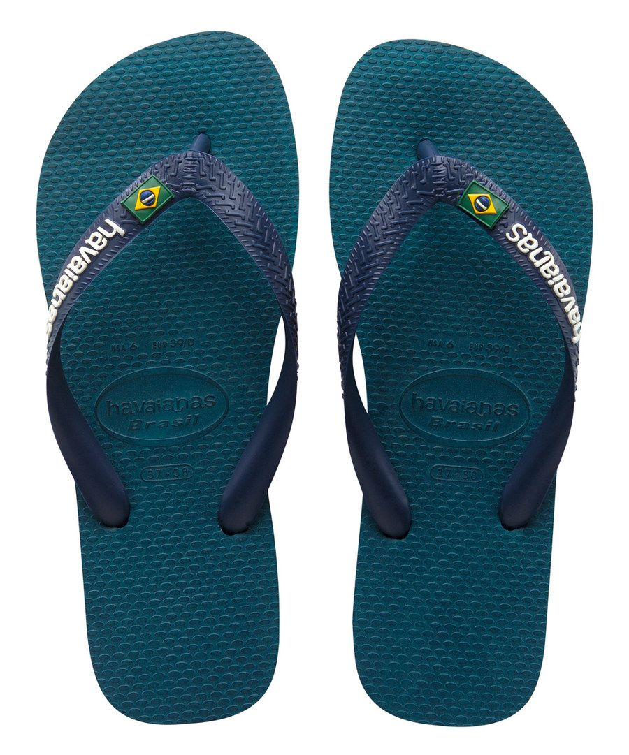 Havaianas Mens Brasil Logo Flip Flops Petroleum - 4110850 0047 M - Shoes -  Trainers - Mens - by Havaianas - Why Not Share