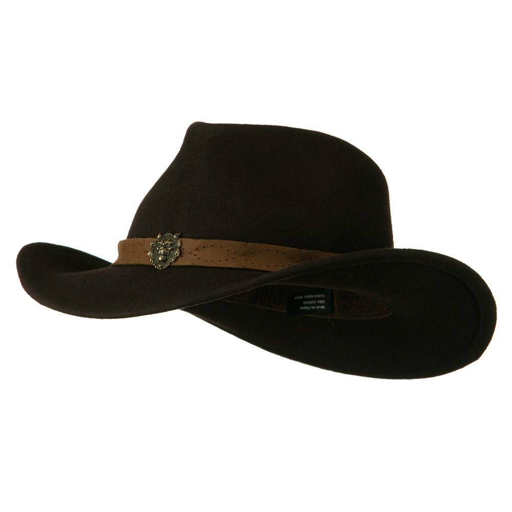 Wool Felt Cowboy Hat with Distressed Leather Band - Dark Brown ... 00aafd97b5e