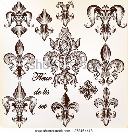 Collection Of Vector Royal Fleur De Lis For Design Stock Vector