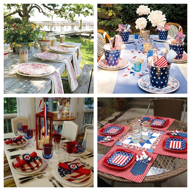 4th of July red, white and blue table setting ideas.  For more decorating tips, ideas and inspiration check out http://decoratingfiles.com/