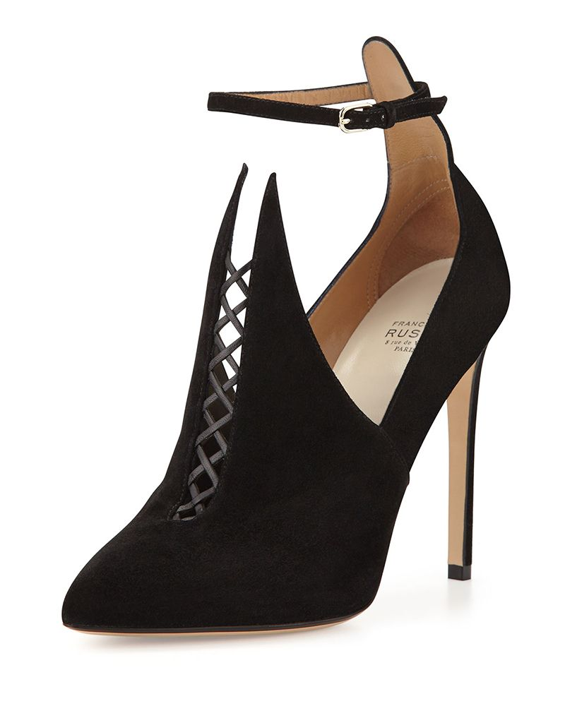 a76879b8ea68 Francesco Russo Pointed Suede Bootie with Ankle Strap