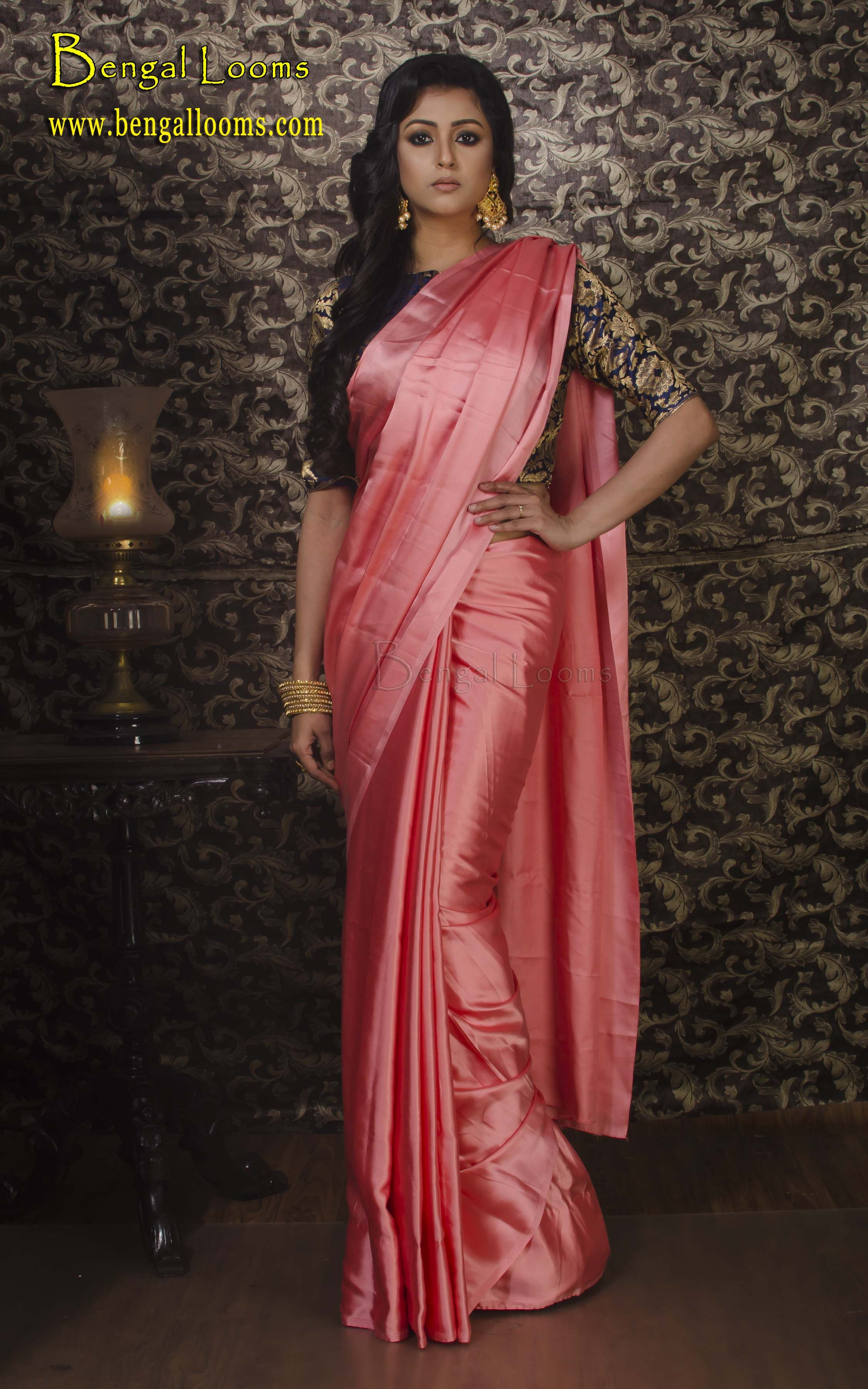 bc568a6280 Satin Silk Saree in Peach | saree | Silk sarees, Saree, Satin saree