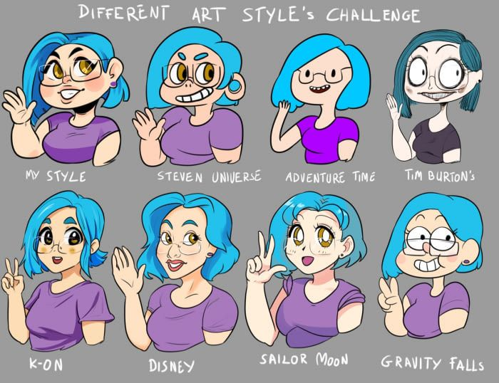Same Girl Different Styles Different Art Styles Art Style Challenge Different Drawing Styles
