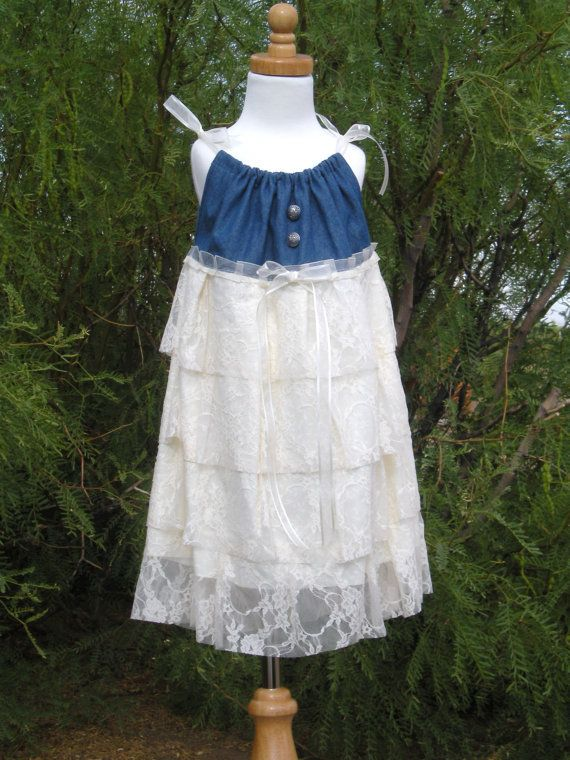 Denim and Lace Cowgirl Pillowcase Dress