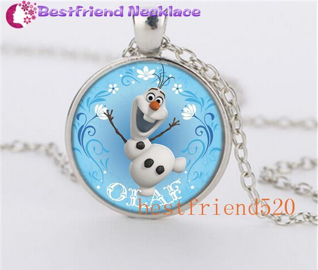 NEW Cute Snow Olaf Round Glass Dome  Tibet Silver Pendant Necklace #Handmade #glass