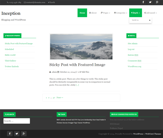 This free flat WordPress theme comes with a featured content slider ...