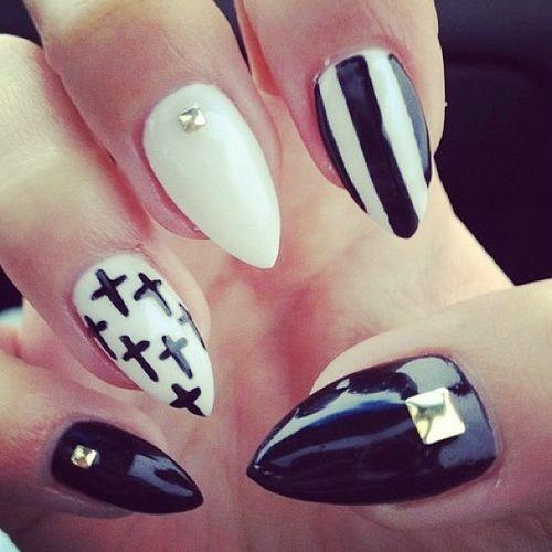Black And White Stiletto Nail Designs - Nail Design Idea - Black And White Stiletto Nail Designs - Nail Design Idea Nails
