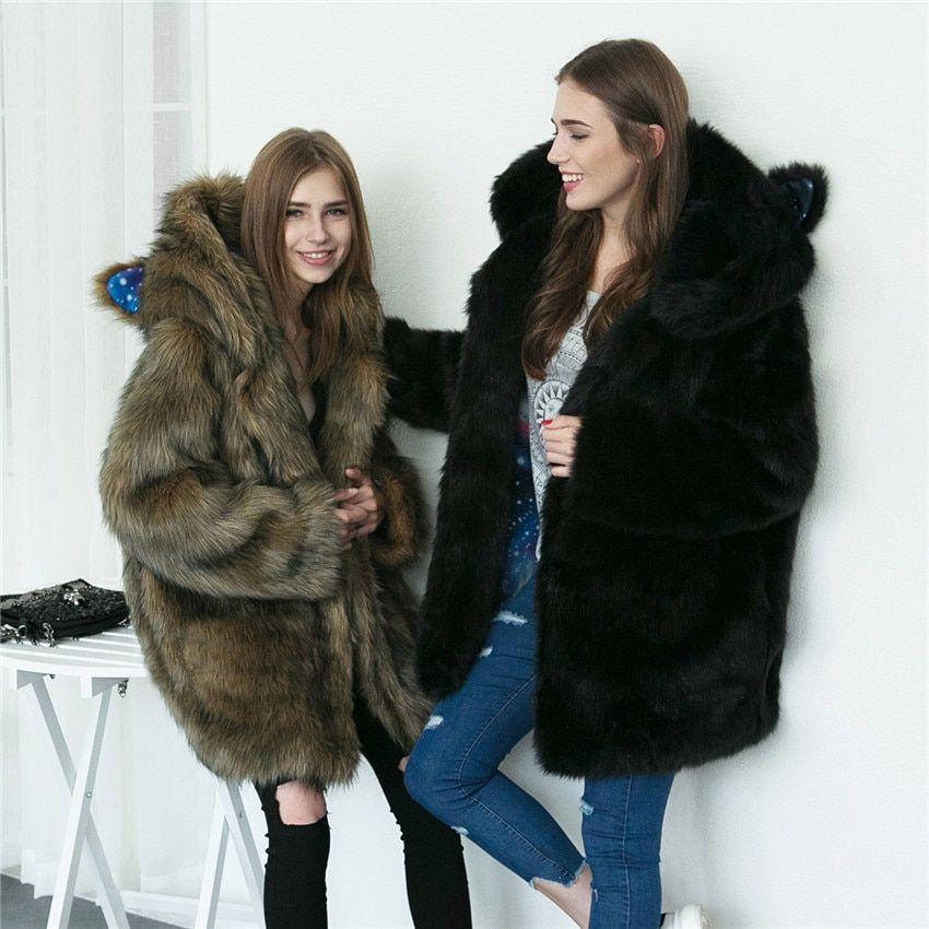 Mode frauen Winter Faux Pelz Futter Mäntel Warme Lange