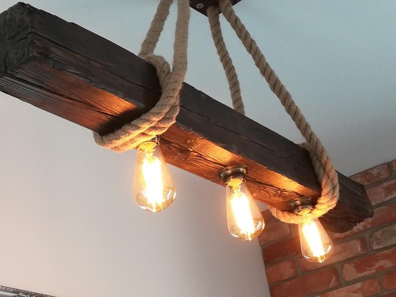 Vintage Old Wood Beam Light Loft Jute In 2020 Wood Beams Beams Led Pendant Lights