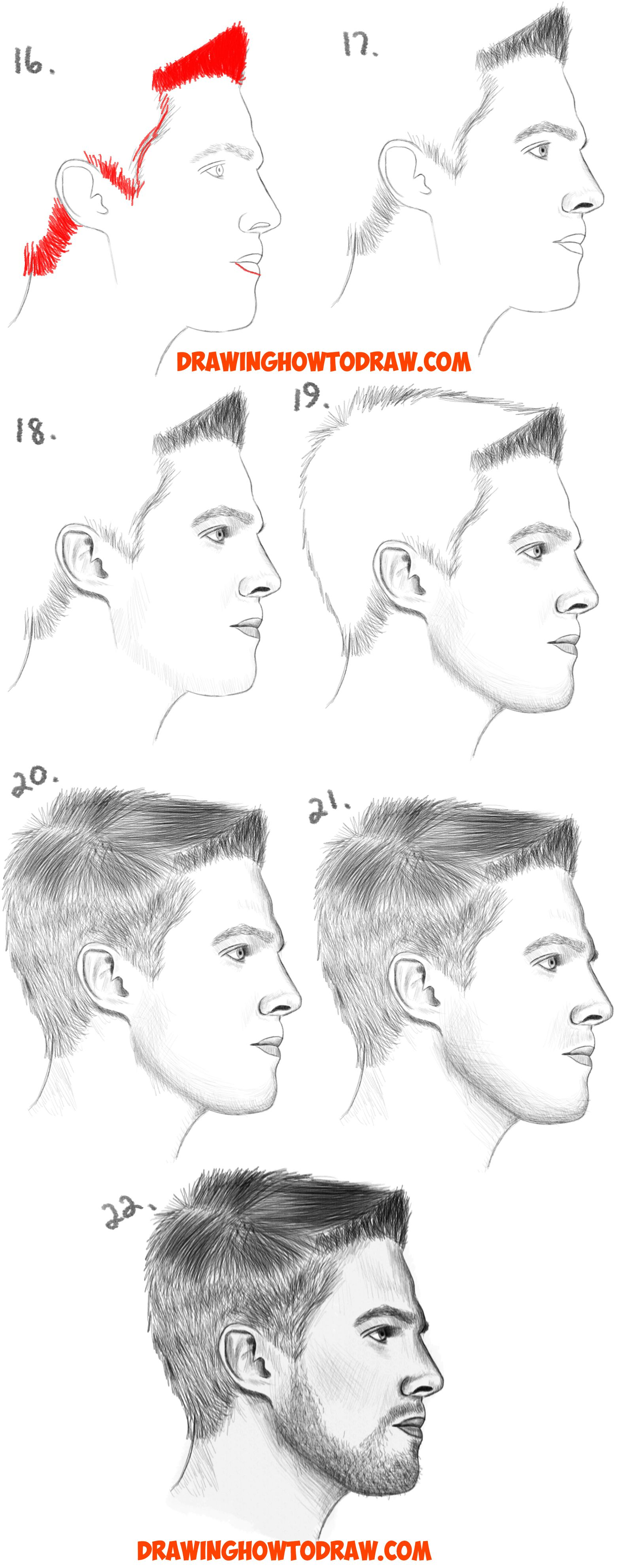 How To Draw A Face From The Side Profile View Male Man Easy Step By Step Drawing Tutorial For Beginners How To Draw Step By Step Drawing Tutorials Realistic