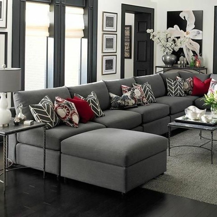 Grey Corner Sofa Red Printed Throw Pillows Best Color For Living Room Walls Wooden Floor In 2020 White Walls Living Room Living Room Grey Living Room White