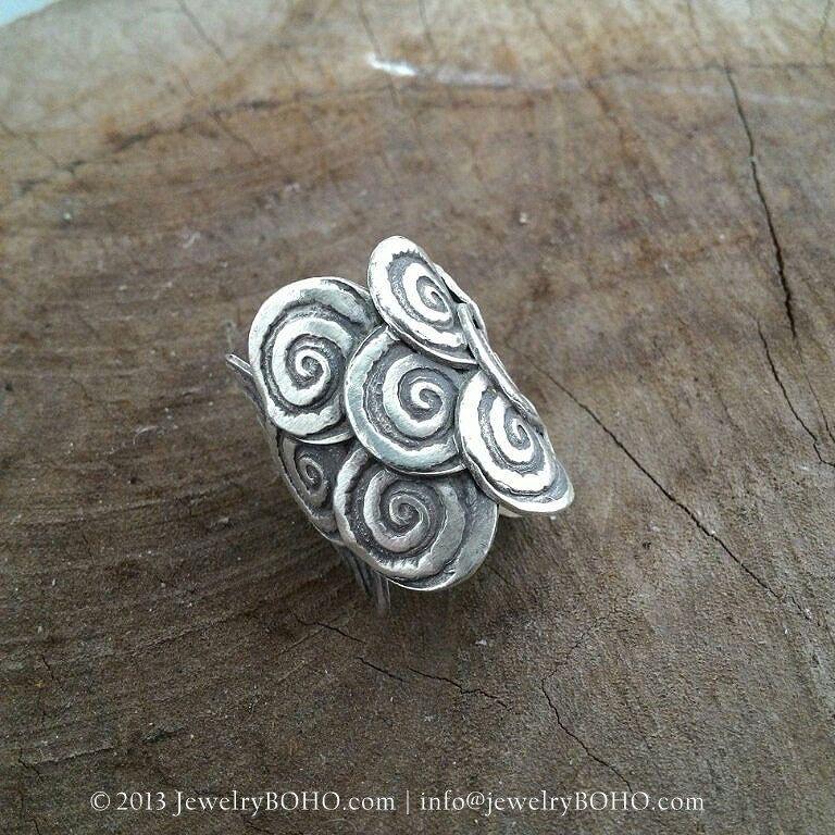 BOHO Gypsy ring Hippie ring Bohemian style Statement ring R030 JewelryBOHO-Handmade sterling silver BOHO Tribal ring