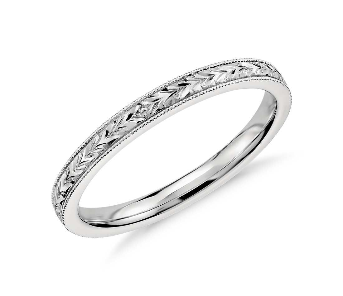 Xquisitely Hand Engraved This Wedding Ring Features An Intricate Motif In 14k White Gold