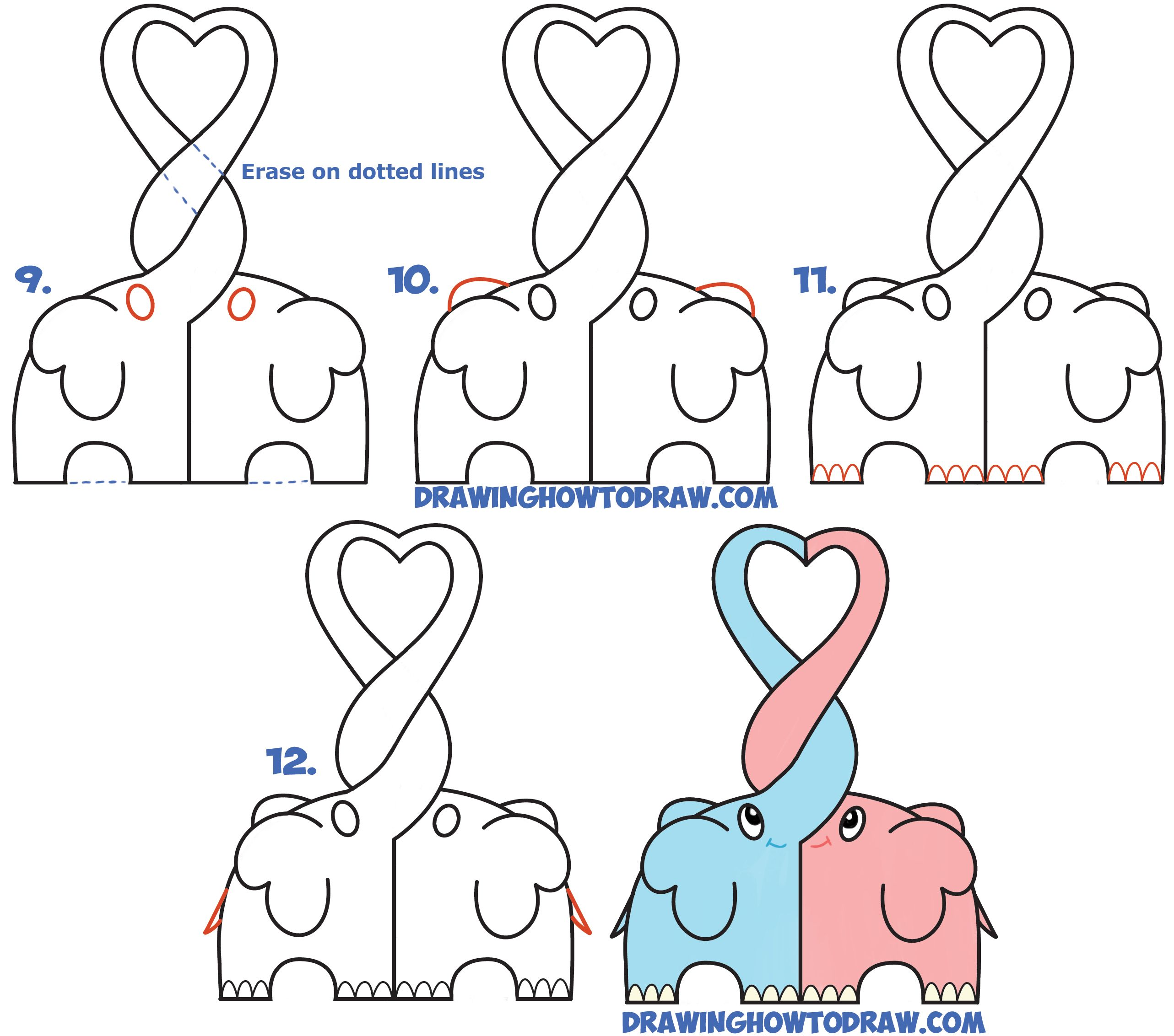 Learn How To Draw Cute Kawaii Chibi Elephants In Love