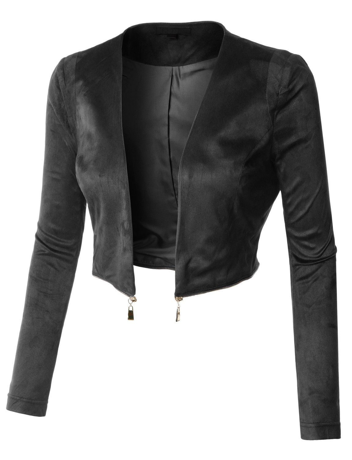 da9c0dc2cdef9 LE3NO Womens Fitted Suede Cropped Blazer Jacket with Detachable Hem ...