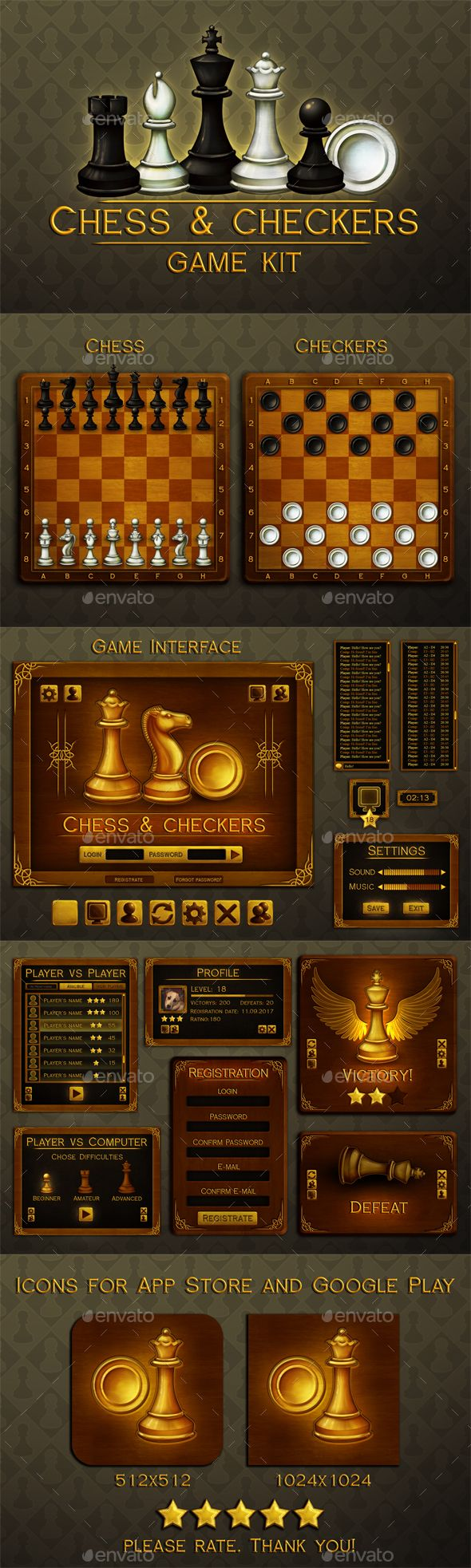 Chess and Checkers Game Assets Game Kits Game Assets