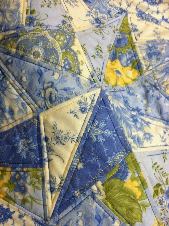 Blue And Yellow French Country Tablerunner Etsy French Country Quilt Yellow Quilts Blue Quilts