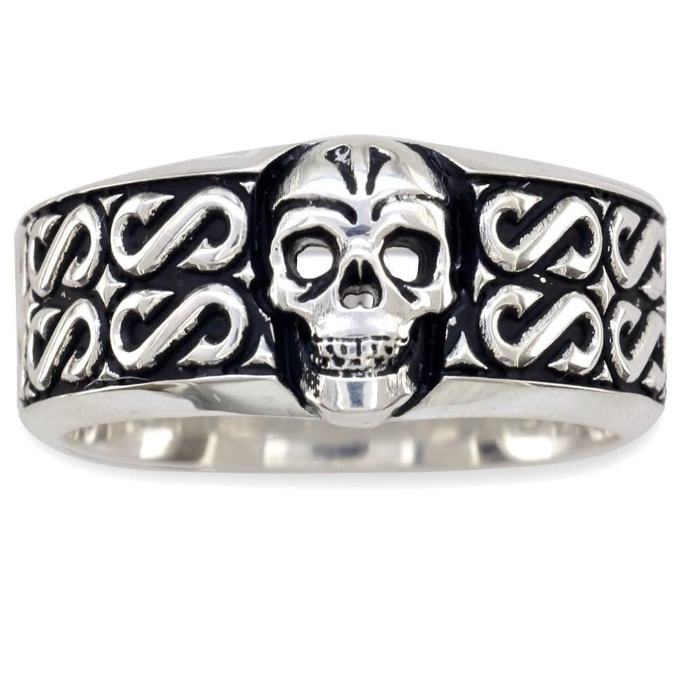 Mens Wide Skull Wedding Band Ring With S Pattern And Black In Sterling Silver Best Price Design 925 Custom Women: Wide Wedding Bands Skull At Websimilar.org