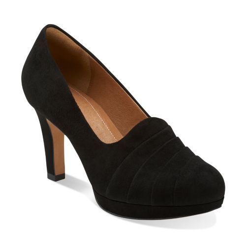 Delsie Joy Black Suede - Clarks Womens Shoes - Womens Heels and Flats -  Clarks -